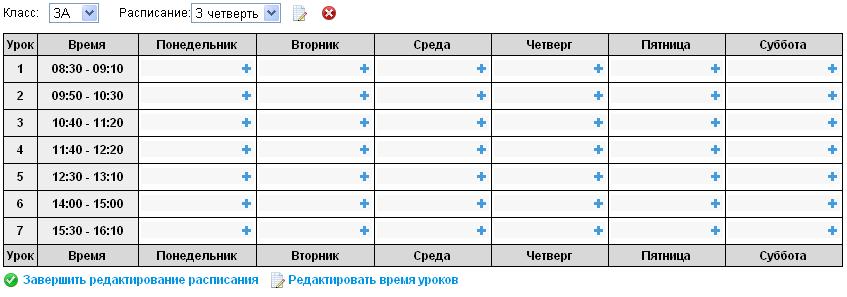 Таблица расписания уроков