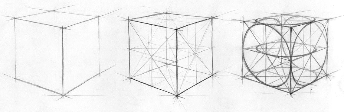линейный рисунок куба и шара
