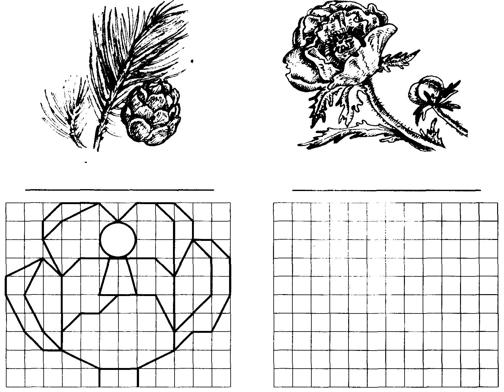 Рисунки геометрические по клеткам