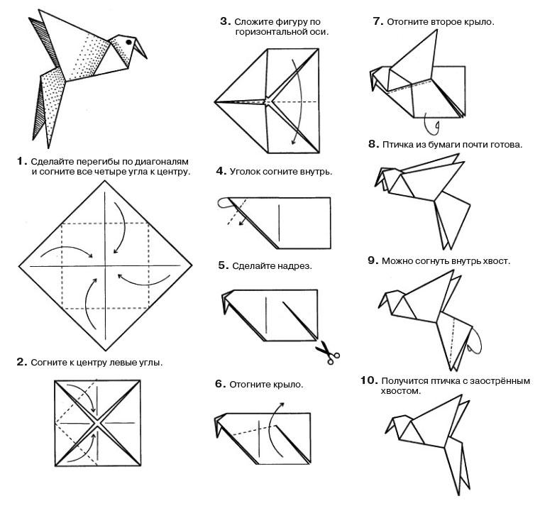 Оригами птицы из бумаги  схемы